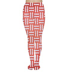 Woven1 White Marble & Red Brushed Metal Women s Tights by trendistuff