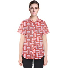 Woven1 White Marble & Red Brushed Metal Women s Short Sleeve Shirt