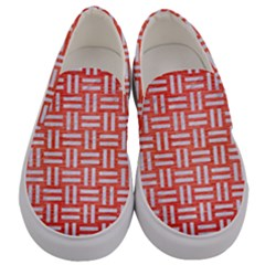Woven1 White Marble & Red Brushed Metal Men s Canvas Slip Ons