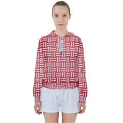Woven1 White Marble & Red Brushed Metal Women s Tie Up Sweat