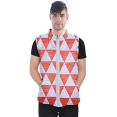 Triangle3 White Marble & Red Brushed Metal Men s Puffer Vest