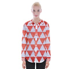 Triangle3 White Marble & Red Brushed Metal Womens Long Sleeve Shirt