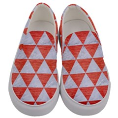 Triangle3 White Marble & Red Brushed Metal Men s Canvas Slip Ons