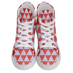 Triangle3 White Marble & Red Brushed Metal Men s Hi Top Skate Sneakers