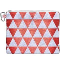 Triangle3 White Marble & Red Brushed Metal Canvas Cosmetic Bag (xxxl) by trendistuff