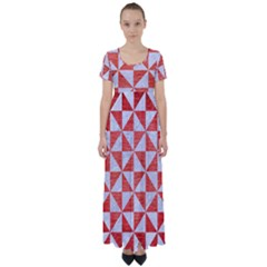 Triangle1 White Marble & Red Brushed Metal High Waist Short Sleeve Maxi Dress