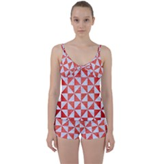 Triangle1 White Marble & Red Brushed Metal Tie Front Two Piece Tankini
