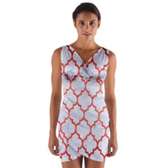 Tile1 White Marble & Red Brushed Metal (r) Wrap Front Bodycon Dress