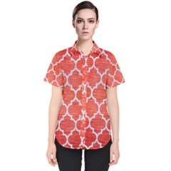 Tile1 White Marble & Red Brushed Metal Women s Short Sleeve Shirt