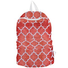 Tile1 White Marble & Red Brushed Metal Foldable Lightweight Backpack