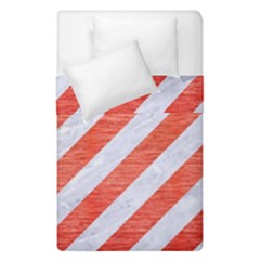 Stripes3 White Marble & Red Brushed Metal (r) Duvet Cover Double Side (single Size)