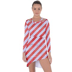 Stripes3 White Marble & Red Brushed Metal (r) Asymmetric Cut Out Shift Dress