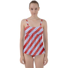 Stripes3 White Marble & Red Brushed Metal (r) Twist Front Tankini Set