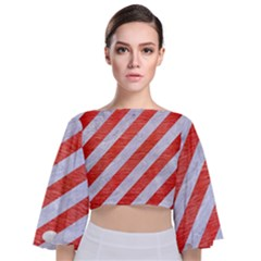Stripes3 White Marble & Red Brushed Metal (r) Tie Back Butterfly Sleeve Chiffon Top