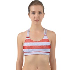 Stripes2white Marble & Red Brushed Metal Back Web Sports Bra