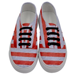 Stripes2white Marble & Red Brushed Metal Men s Classic Low Top Sneakers