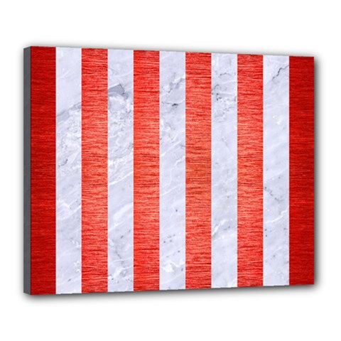 Stripes1 White Marble & Red Brushed Metal Canvas 20  X 16  by trendistuff