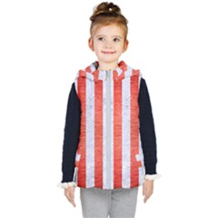 Stripes1 White Marble & Red Brushed Metal Kid s Hooded Puffer Vest