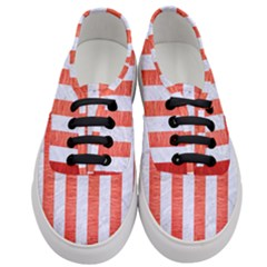 Stripes1 White Marble & Red Brushed Metal Women s Classic Low Top Sneakers