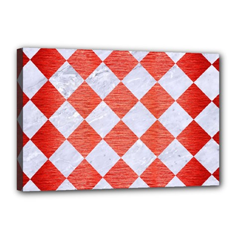 Square2 White Marble & Red Brushed Metal Canvas 18  X 12  by trendistuff
