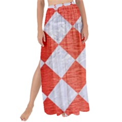 Square2 White Marble & Red Brushed Metal Maxi Chiffon Tie Up Sarong