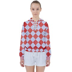 Square2 White Marble & Red Brushed Metal Women s Tie Up Sweat