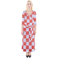 Square1 White Marble & Red Brushed Metal Quarter Sleeve Wrap Maxi Dress