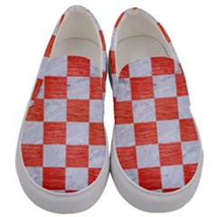Square1 White Marble & Red Brushed Metal Men s Canvas Slip Ons