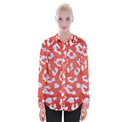Skin5 White Marble & Red Brushed Metal (r) Womens Long Sleeve Shirt