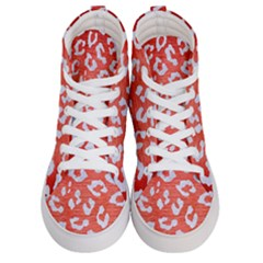 Skin5 White Marble & Red Brushed Metal (r) Men s Hi Top Skate Sneakers