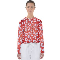 Skin5 White Marble & Red Brushed Metal (r) Women s Slouchy Sweat
