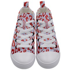 Skin5 White Marble & Red Brushed Metal Kid s Mid Top Canvas Sneakers
