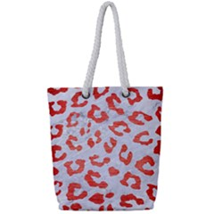 Skin5 White Marble & Red Brushed Metal Full Print Rope Handle Tote (small)