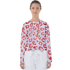 Skin5 White Marble & Red Brushed Metal Women s Slouchy Sweat