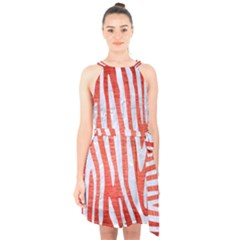 Skin4 White Marble & Red Brushed Metal (r) Halter Collar Waist Tie Chiffon Dress