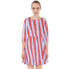 Skin4 White Marble & Red Brushed Metal Smock Dress