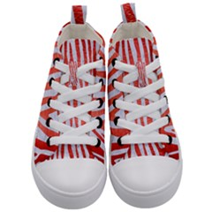 Skin4 White Marble & Red Brushed Metal Kid s Mid Top Canvas Sneakers