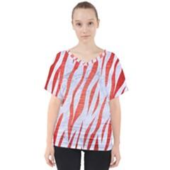 Skin3 White Marble & Red Brushed Metal (r) V Neck Dolman Drape Top