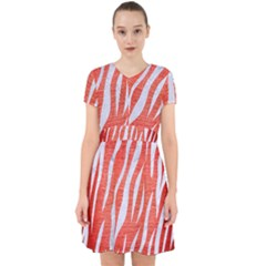 Skin3 White Marble & Red Brushed Metal Adorable In Chiffon Dress