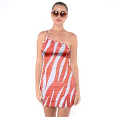 Skin3 White Marble & Red Brushed Metal One Soulder Bodycon Dress