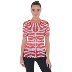 Skin2 White Marble & Red Brushed Metal Short Sleeve Top