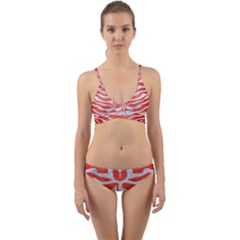 Skin2 White Marble & Red Brushed Metal Wrap Around Bikini Set