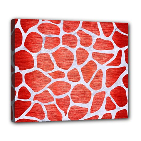 Skin1 White Marble & Red Brushed Metal (r) Deluxe Canvas 24  X 20   by trendistuff