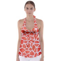 Skin1 White Marble & Red Brushed Metal (r) Babydoll Tankini Top