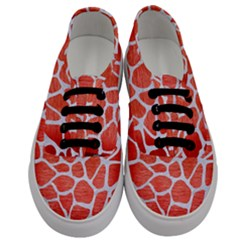 Skin1 White Marble & Red Brushed Metal (r) Men s Classic Low Top Sneakers