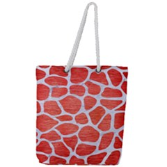 Skin1 White Marble & Red Brushed Metal (r) Full Print Rope Handle Tote (large) by trendistuff