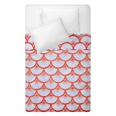 Scales3 White Marble & Red Brushed Metal (r) Duvet Cover Double Side (single Size) by trendistuff