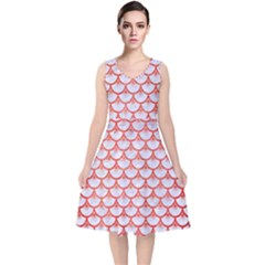 Scales3 White Marble & Red Brushed Metal (r) V Neck Midi Sleeveless Dress