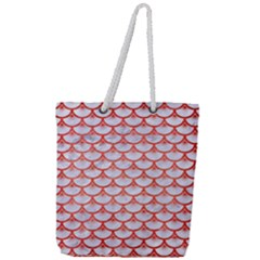 Scales3 White Marble & Red Brushed Metal (r) Full Print Rope Handle Tote (large)