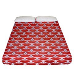 Scales3 White Marble & Red Brushed Metal Fitted Sheet (california King Size) by trendistuff